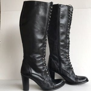 CHARLES DAVID Griot Lace Up Knee High Boots 9.5M
